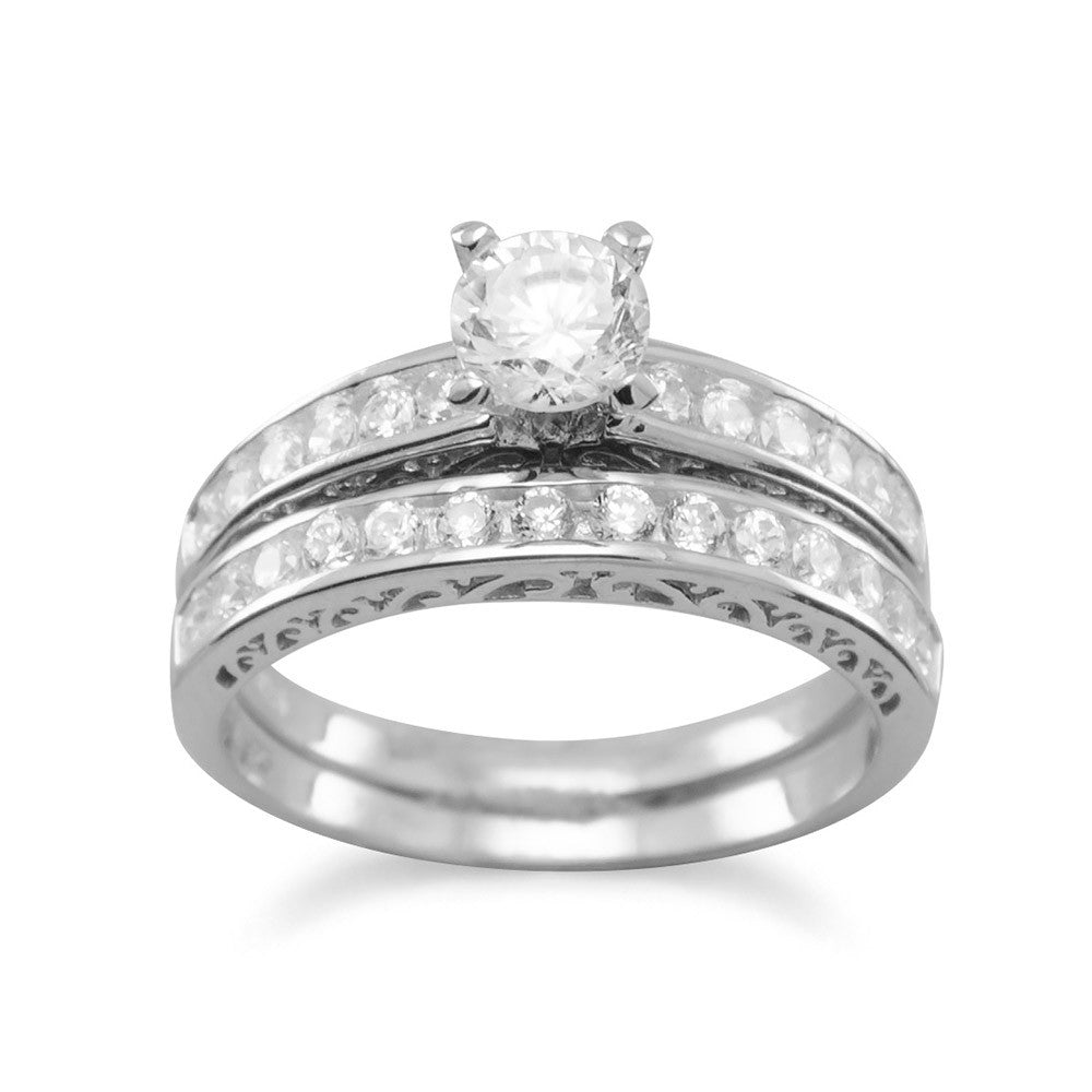 Rhodium Plated WEDDING Band Set