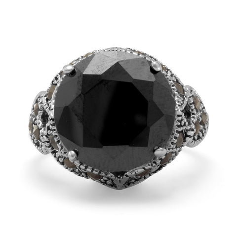 Black CZ and Marcasite Ring