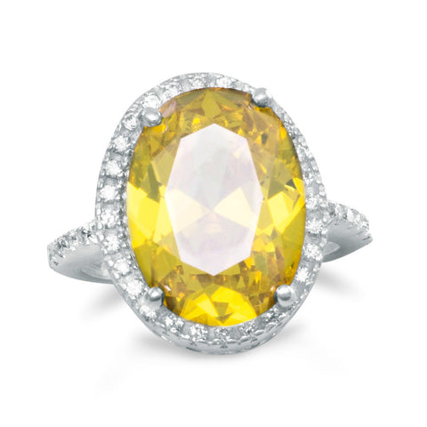 Yellow and Clear CZ Ring