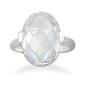 Faceted Clear CZ Ring