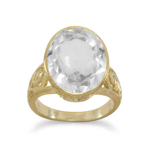 14 Karat Gold Plated White Quartz Ring