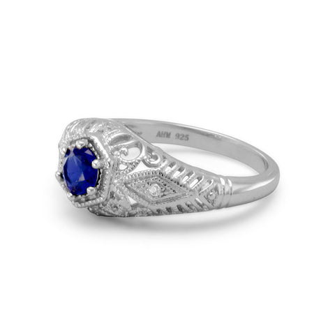 Rhodium Plated Dark Blue CZ Ring