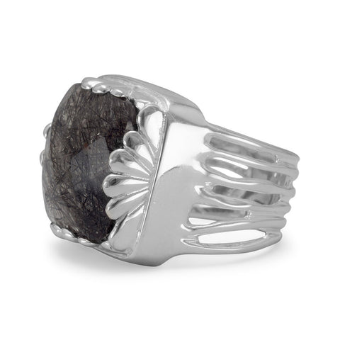 Square Black Rutilated Quartz Ring