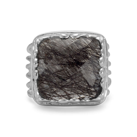 Square Tourmalinated Quartz Ring