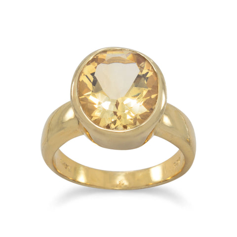 14 Karat Gold Plated Citrine Ring