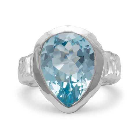 Pear Shape Blue Topaz Ring