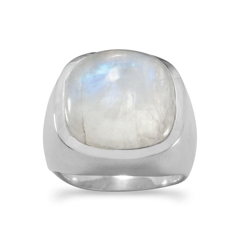Soft Side Square Rainbow Moonstone Ring