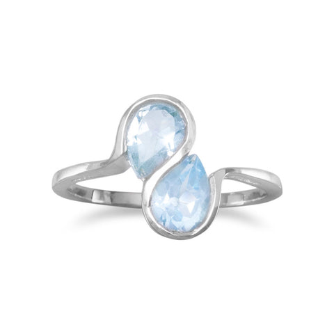 Blue Topaz Ring with Wavy Band Design