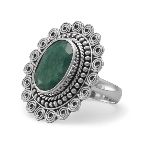 Oval Rough-Cut Emerald Ring