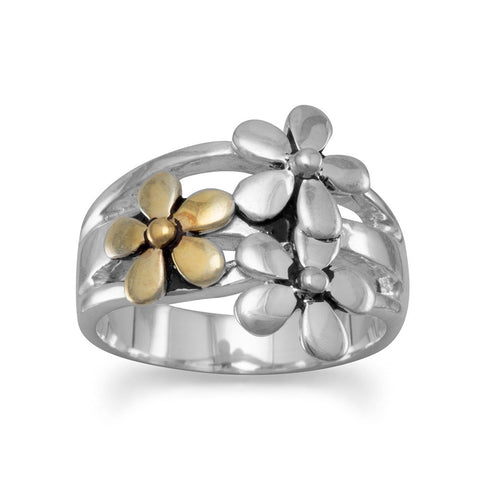 Two Tone Flower Ring