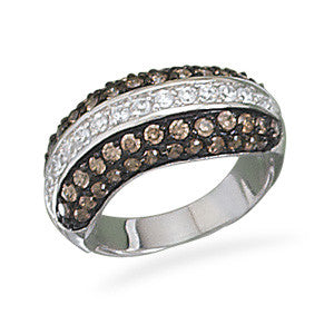 Rhodium Plated Clear and Chocolate CZ Ring