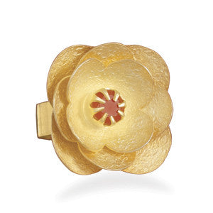 14 Karat Gold Plated Carnelian Flower Ring