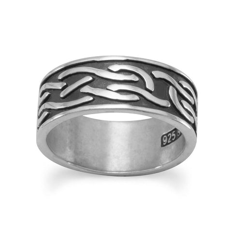 Oxidized Knot Design Band