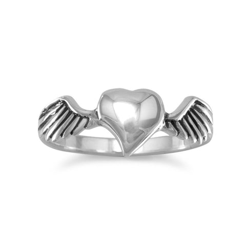Oxidized Heart with Wings Ring