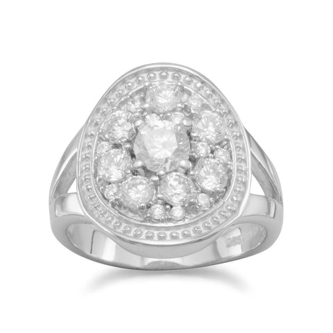 Oval Ring with Clear CZs