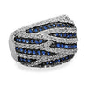 Rhodium Plated Blue and Clear CZ Ring