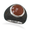 Wood and Carnelian Ring