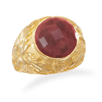 Ornate 14 Karat Gold Plated Rough-Cut Ruby Ring
