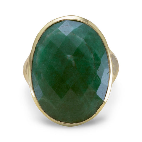 Hammered 14 Karat Gold Plated Rough-Cut Emerald Ring