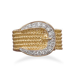 Two Tone CZ Belt Buckle Ring