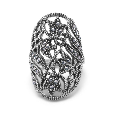 Marcasite Ring with Cut Out Leaf Design