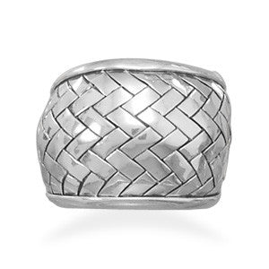 Oxidized Weave Pattern Ring