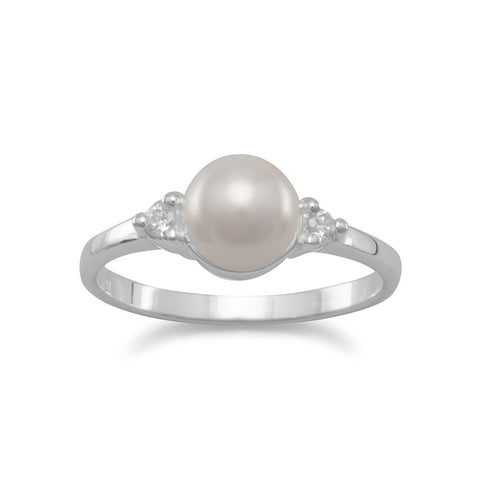 Simulated Pearl and CZ Ring