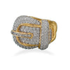 14 Karat Gold Plated CZ Buckle Ring