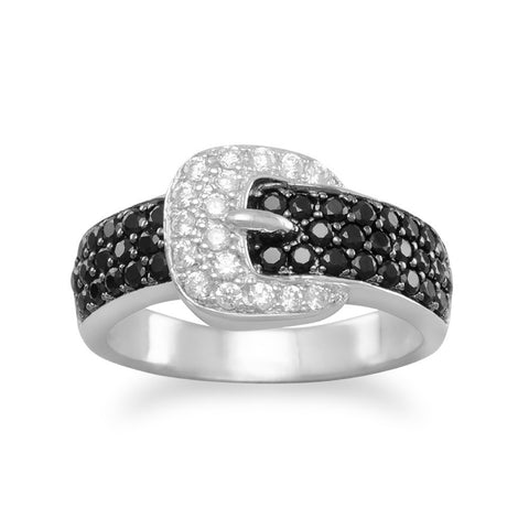 Rhodium Plated CZ Belt with Buckle Ring
