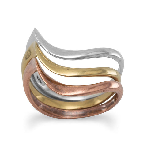 Triple Band Sterling Silver and Bronze Ring