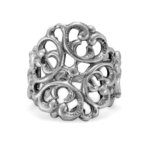 Oxidized Ornate Scroll Ring