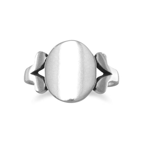 "Polished Oval ID ""V"" Band Ring"