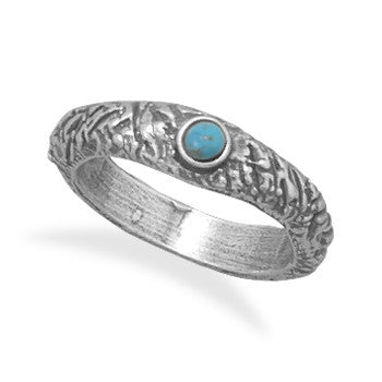 Oxidized Textured Reconstituted Turquoise Ring