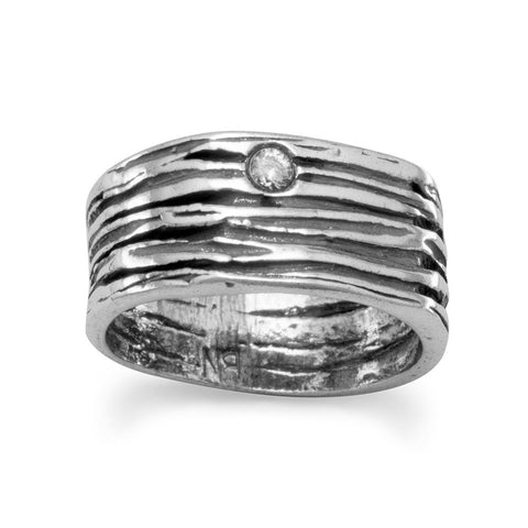 Oxidized Textured Band with CZ