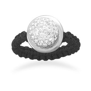 Macrame and Clear Crystal Ring