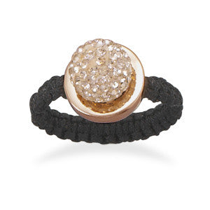 Macrame and Champagne Crystal Ring
