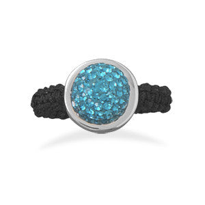 Macrame and Teal Crystal Ring