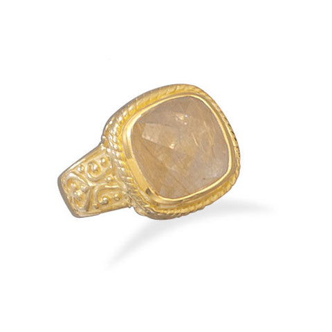 14 Karat Gold Plated Rutilated Quartz Ring