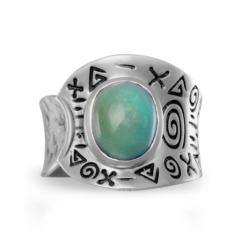 Oxidized Reconstituted Turquoise Ring
