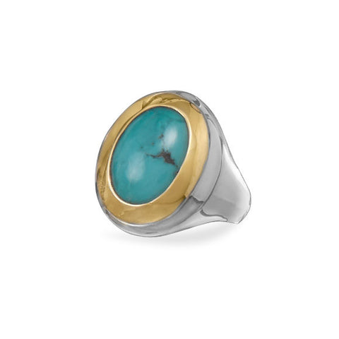 Two Tone Reconstituted Turquoise Ring
