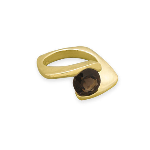 14 Karat Gold Plated Smoky Quartz Ring