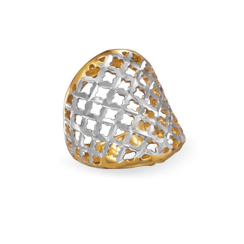 Two Tone Diamond Cut Ring