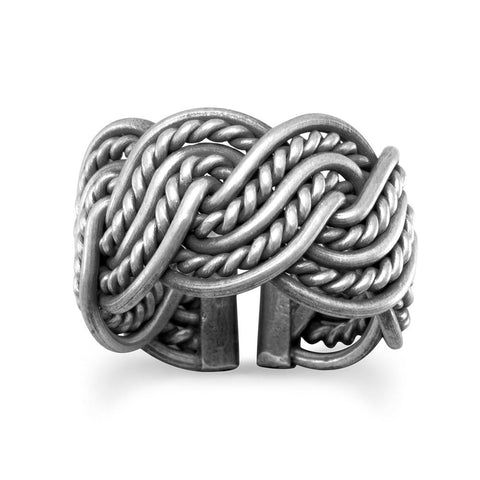 Oxidized Weave Design Ring