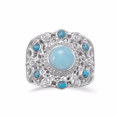 Ornate Larimar and Shattuckite Ring