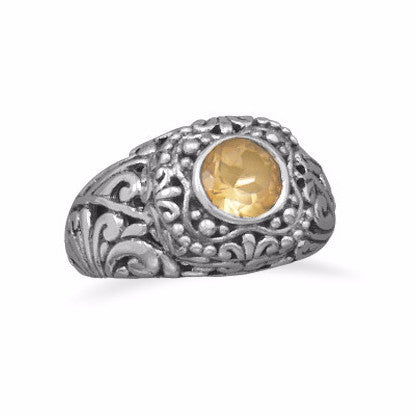 Ornate Oxidized Citrine Ring