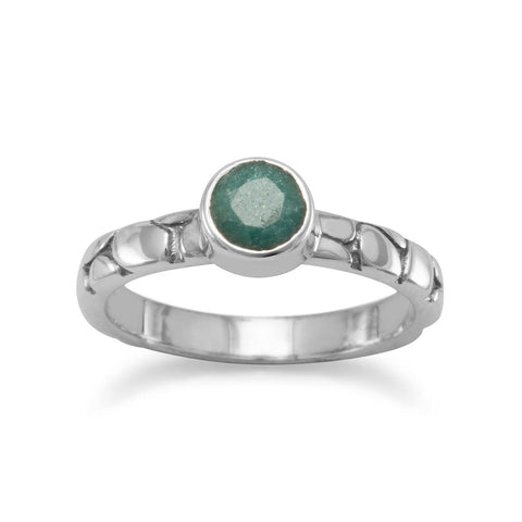 Oxidized Rough-Cut Emerald Ring