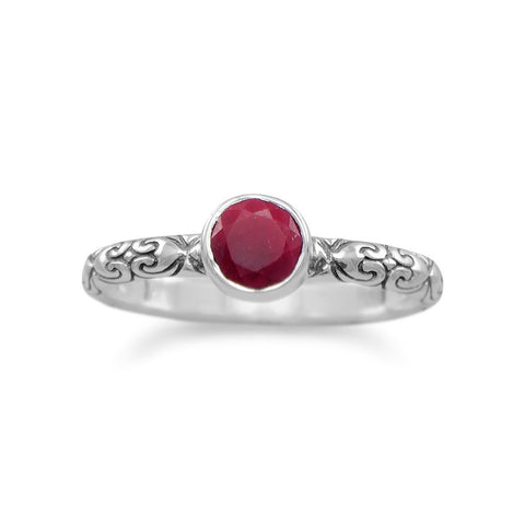 Oxidized Rough-Cut Ruby Ring