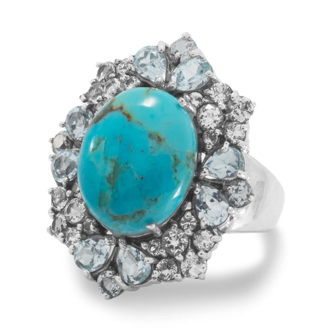 Reconstituted Turquoise Ring with White and Blue Topaz