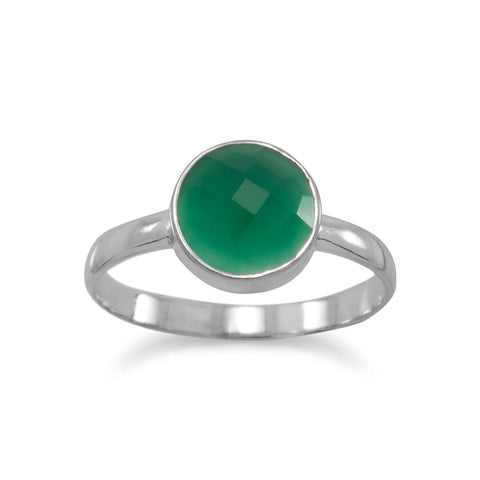 Faceted Green Onyx Stackable Ring
