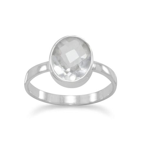 Faceted Clear Quartz Stackable Ring